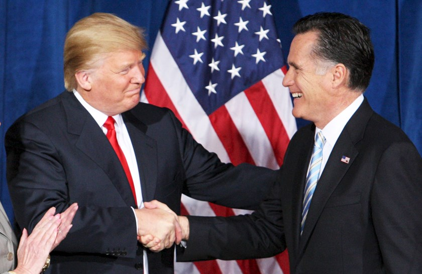 Businessman and real estate developer Donald Trump (L) greets U.S. Republican presidential candidate and former Massachusetts Governor Mitt Romney after endorsing his candidacy for president at the Trump Hotel in Las Vegas, Nevada in this February 2, 2012 file photo. REUTERS/Steve Marcus