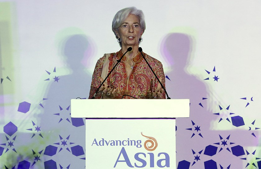 "International Monetary Fund (IMF) Managing Director Christine Lagarde addresses a gathering during ""Advancing Asia: Investing for the Future"" conference in New Delhi, India, March 11, 2016. REUTERS/Anindito Mukherjee"