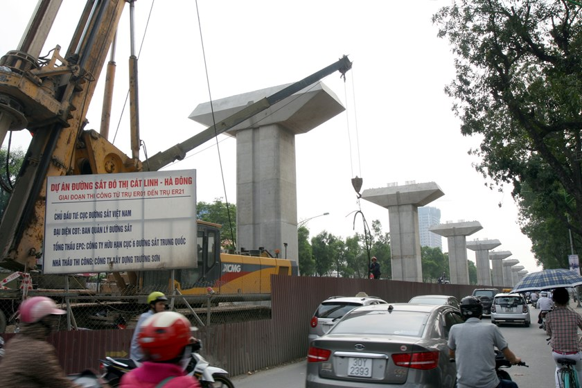 The construction site of Cat Linh - Ha Dong elevated railway in Hanoi is the only project in Vietnam to be funded by China's official development assistance. Photo: Ngoc Thang