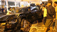 A car was heavily damaged after ramming into a crowd at HCMC's Tan Son Nhat airport and two cars on February 10. Photo: Duc Tien