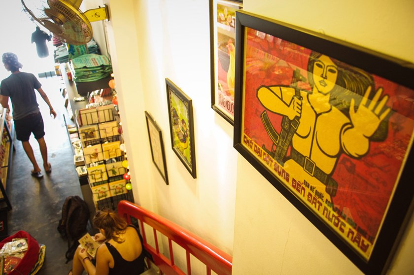 Propaganda posters displayed at a souvenir shop in downtown Ho Chi Minh City. Photo: Minh Le