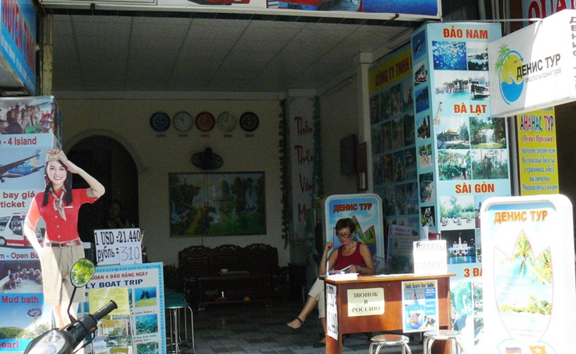 A tour operator's booth in Nha Trang. Photo: Hien Luong