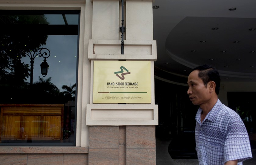 A man walks past the Hanoi Stock Exchange in Hanoi. Photo: Bloomberg
