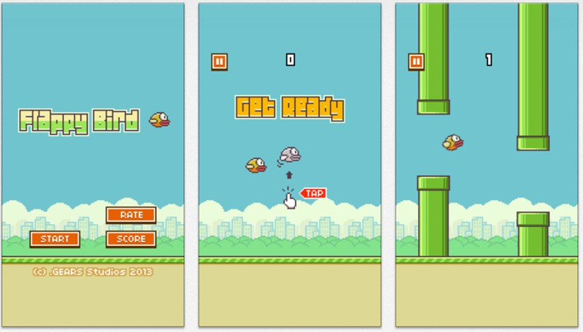Screens from Flappy Bird, a Vietnamese-developed mobile game that took the world by storm last year. Photo credit: Forbes
