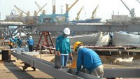 A file photo of Lilama workers at the construction site of a seaport in the southern province of Ba Ria - Vung Tau. Photo credit: Lilama 45.1