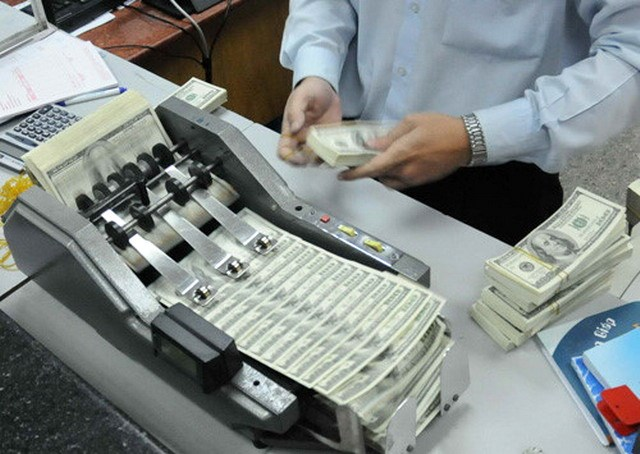 An undated photo of an employee counting dollar bills at a bank in Ho Chi Minh City. Photo: Diep Duc Minh