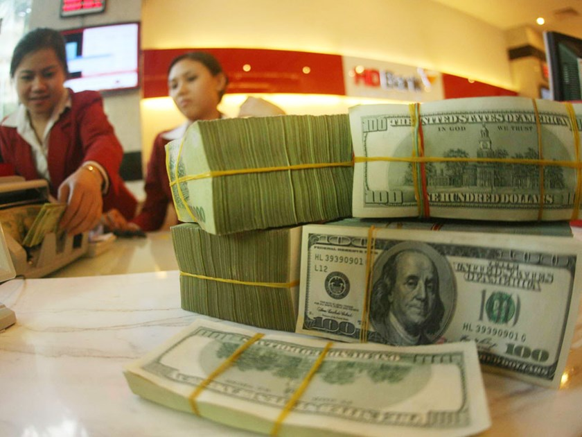Stacks of US dollar bills arranged at a bank in Ho Chi Minh City. Photo: Dao Ngoc Thach