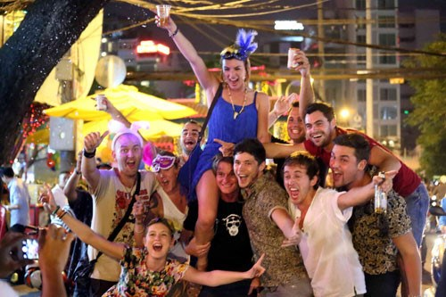 A file photo of foreigners celebrating new year in Ho Chi Minh City. Photo: Dao Ngoc Thach