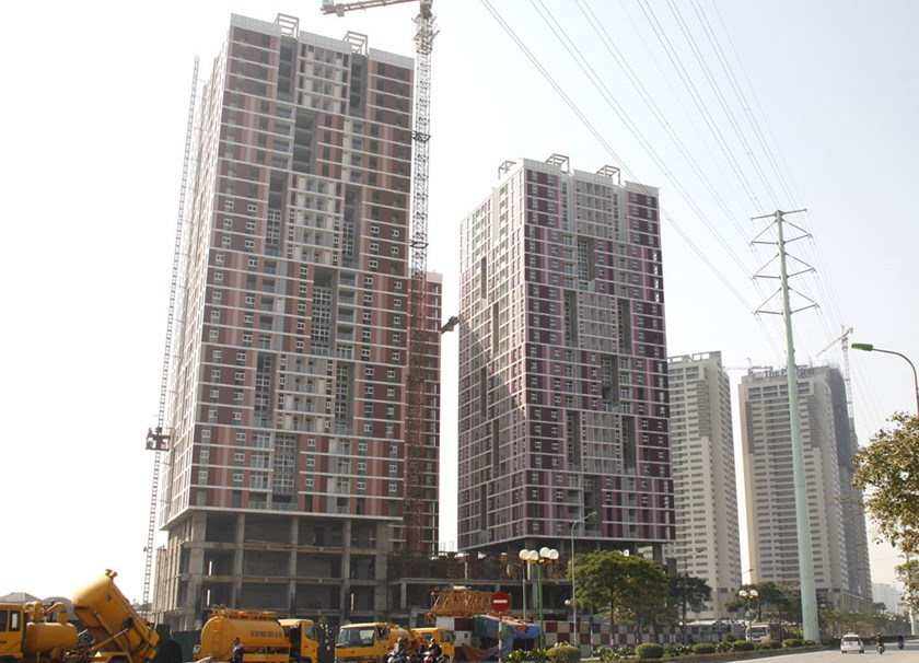 The construction site of apartment buildings in Hanoi. Photo: Le Quan