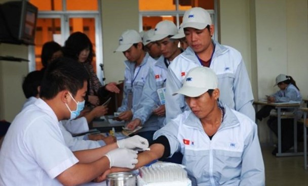 A file photo of Vietnamese workers having physical checkups before flying to South Korea. Photo: VNA