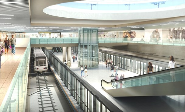 A graphic image of a 45,000-square-meter shopping mall under the Ben Thanh station of Ho Chi Minh City's first metro line. Photo credit: Dau Tu