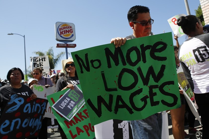 Fast food workers and supporters organized by the Service Employees International Union protested in Los Angeles in August. Photo: Bloomberg