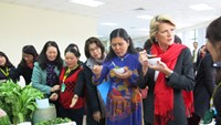 "Australian Foreign Minister Julie Bishop tastes a dish at a ceremony introducing ""Building an effective and sustainable vegetables trade and production system in north western Vietnam"" project. Photo: VnExpress"