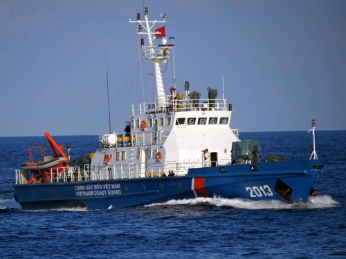 A Vietnamese coastguard ship patrols the waters off the Paracel Islands in the East Sea. Photo: Doc Lap