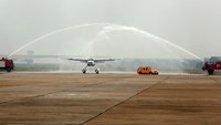 A Hai Au Aviation seaplane being de-iced after touching down at Noi Bai airport in Hanoi. Photo: Reuters