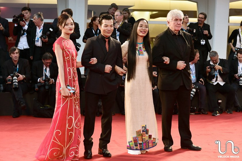 "From left: ""Flapping in the Middle of Nowhere""'s main actress Nguyen Thuy Anh, actor Tran Bao Son, director Nguyen Hoang Diep and French co-producer Thierry Lenouvel. Photo credit: Vblock Media"