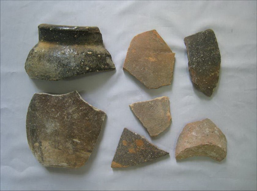 Ancient Vietnamese pottery shards discovered on and below the surface of Spratly Island, in the namesake archipelago, in June. Photo: Nguyen Ngoc Quy