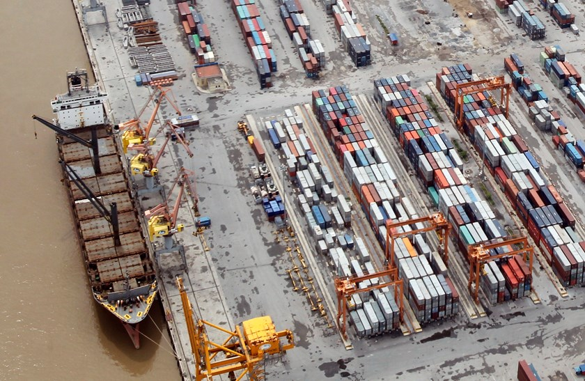 Containers at Dinh Vu Port in the northern city of Hai Phong are seen from a seaplane. Vietnam earned roughly US$1.2 billion each month from exports to China during the first nine months of this year. Photo: Reuters