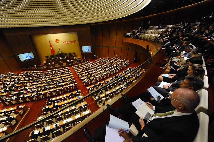 Deputies attend the opening ceremony of the second annual session of the National Assembly in Hanoi on October 20, 2014.  Photo credit: AFP