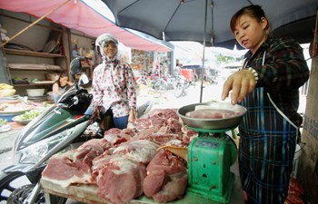 A meat vendor weighs pork for sale at a roadside market in Hanoi October 2, 2014. Photo: Reuters
