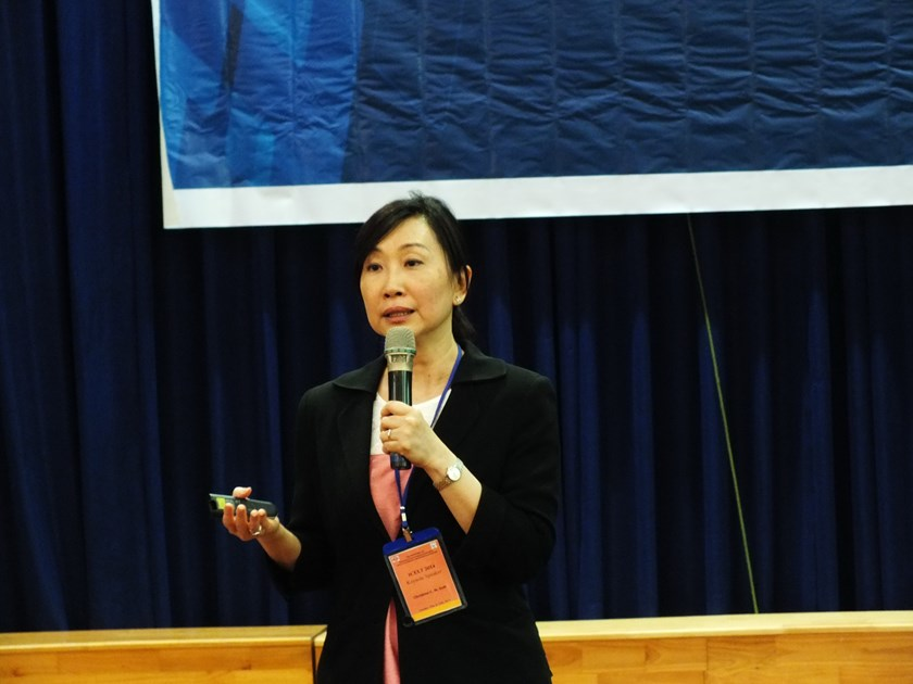 Professor Christine C. M. Goh from Singapore's Nanyang Technological University speaks at a conference on English teaching in Ho Chi Minh City October 24, 2014. Photo: Thao Vi