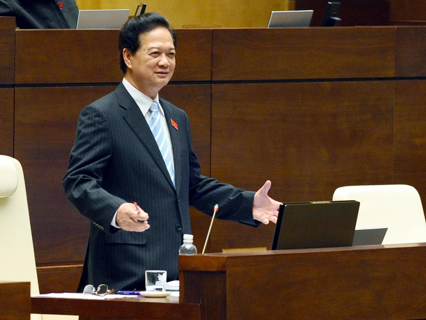 Prime Minister Nguyen Tan Dung speaks to the National Assembly in a televised session on November 19, 2014. Photo: Ngoc Thang