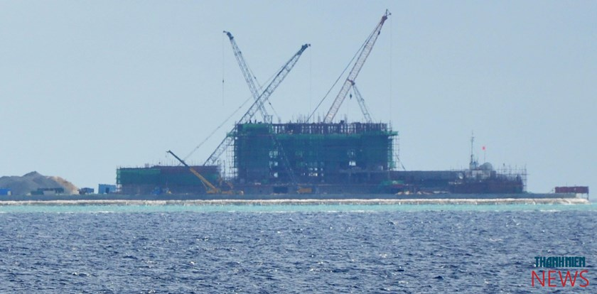 China is building several structures in the Gac Ma (Johnson South) Reef, which Vietnam has a standing claim to. Photo: Mai Thanh Hai