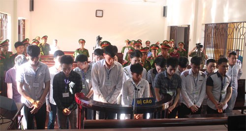 Defendants at the trial in Dong Nai on December 4, 2014. Photo: Le Lam