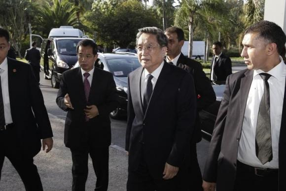 China's Yu Zhengsheng (C), chairman of the National Committee of the Chinese People's Political Consultative Conference, arrives at the Foreign Ministry in Rabat on November 3, 2014. Photo credit: Reuters