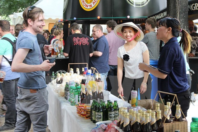 A Sabeco booth at the Berlin Beer Festival in Germany in August, 2014. Photo credit: Vietnam Plus
