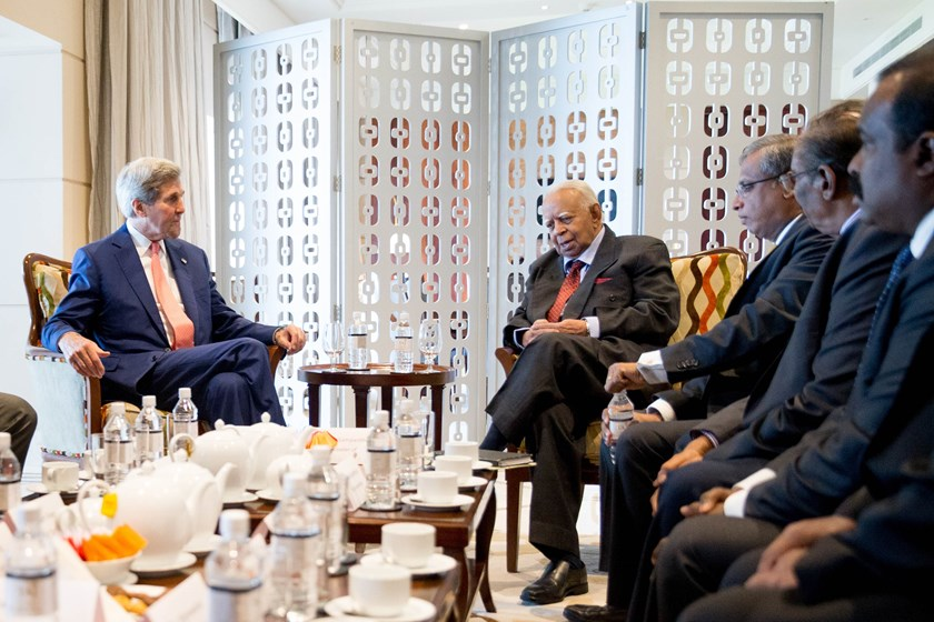 US Secretary of State John Kerry (L) speaks with Sri Lankan Tamil National Alliance (TNA) party leader Rajavarothiam Sampanthan (2nd L) in Colombo on May 3, 2015. Photo: AFP