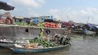 A trader on Cai Rang floating market dumps vegetable peels into the river. Photo: Dinh Tuyen