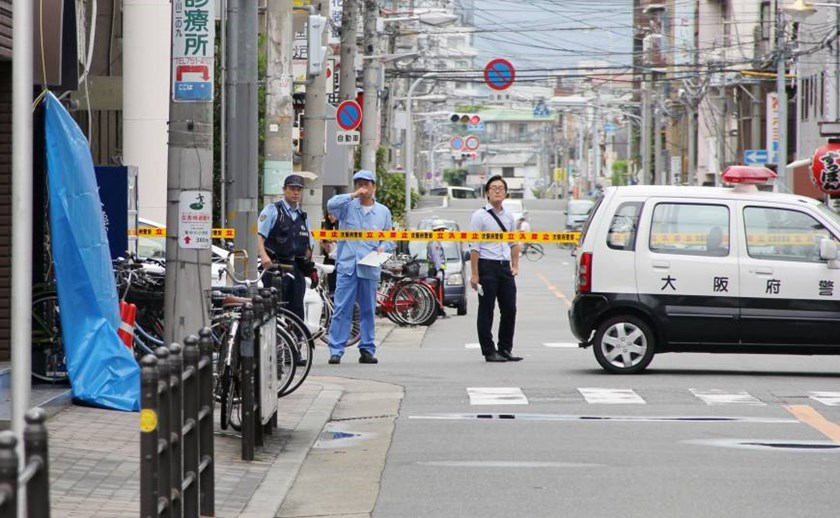 The area where a Vietnamese man was stabbed to death on September 6, 2015 in Ikuno Ward, Osaka. Photo credit: Kyodo News