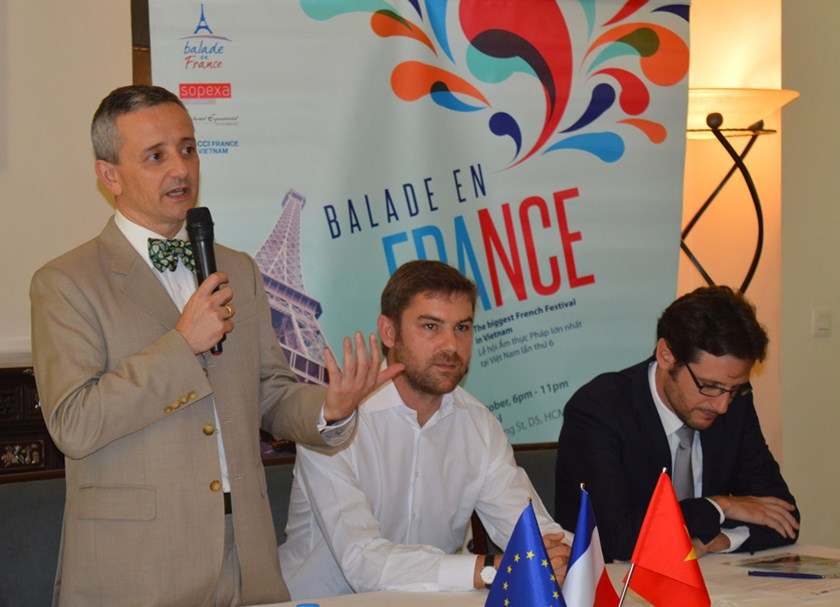 Emmanuel Ly-Batallan, Consul General of France in Ho Chi Minh City, introduces Balade en France at a press briefing on October 6, 2015. Photo: Thao Vi