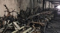 The blaze destroys more than 300 motorbikes, 50 bicycles and parts of a car  Photo: A. Dan