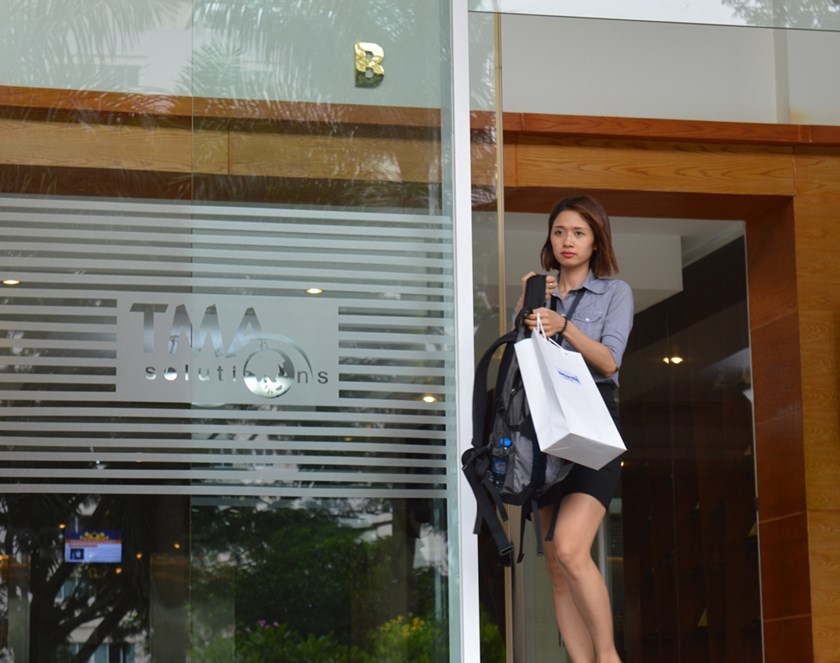 A woman leaves an office of TMA Solutions in Quang Trung software park, District 12, Ho Chi Minh City. Photo: Thao Vi