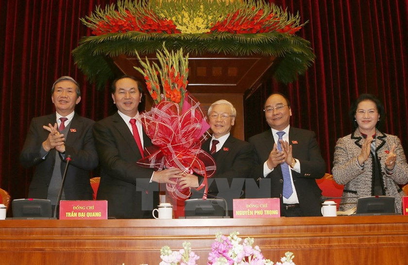 General Secretary Nguyen Phu Trong (C) in a photo released by the Vietnam News Agency on Wednesday afternoon