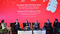 Vo Tan Thanh (2nd from left), deputy chair of VCCI, speaks at a seminar in Ho Chi Minh City on April 21, 2016. Photo: Thao Vi