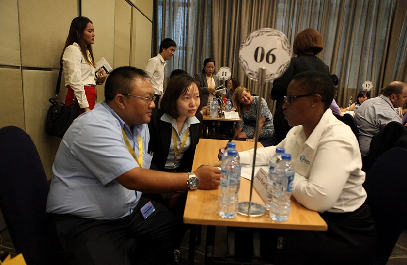 South African and Vietnamese businesses discuss at a business matching event in Ho Chi Minh City on June 23, 2016.