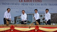 Prime Minister Nguyen Xuan Phuc (2nd L), former Prime Minister Nguyen Tan Dung (2nd R) and HCMC's Party chief Dinh La Thang (R) attend the ground-breaking ceremony for Ho Chi Minh City's second Oncology Hospital in District 9 on June 26, 2016. Photo credit: Phuoc Tuan/Zing