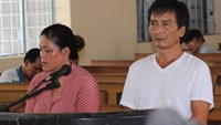 Tieu Van Luan (R), and Lam Thi Chau stand trial in Ca Mau Province on June 30, 2016. Photo: Gia Bach