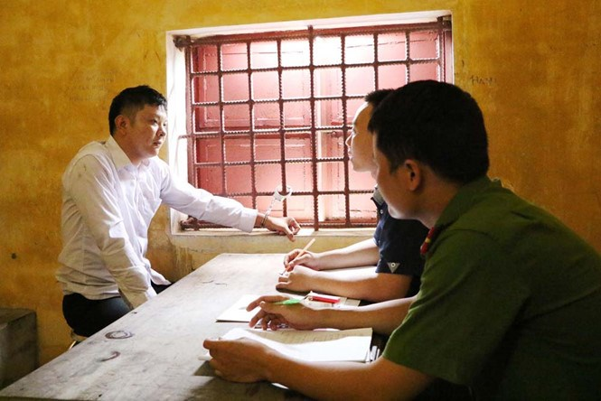Nguyen Van Tien, 26, at a police station in Ha Tinh Province on July 5, 2016. Photo provided by the police