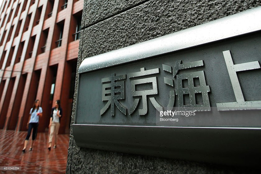 Signage for Tokio Marine & Nichido Fire Insurance Co. is displayed outside the company's headquarters building in Tokyo, Japan, on July 17, 2015. Photo credit: Bloomberg