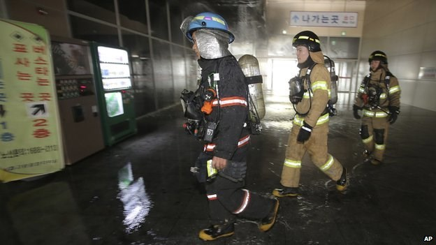 Firefighters said they suspected the fire was started by sparks from underground welding work. Photo credit: AFP