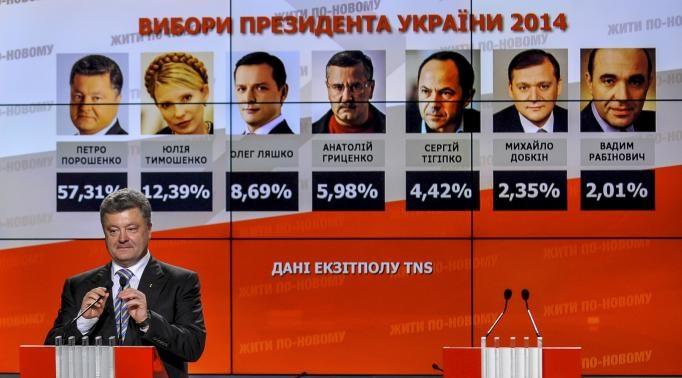 Ukrainian businessman, politician and presidential candidate Petro Poroshenko speaks to supporters in front of a display showing exit poll results for himself and other candidates (L-R) Yulia Tymoshenko, Oleh Lyashko, Anatoly Gritsenko, Serhiy Tigipko, My