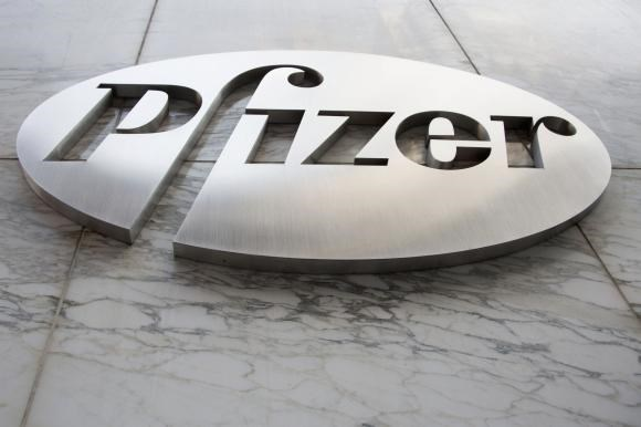 The Pfizer logo is seen at their world headquarters in New York April 28, 2014.