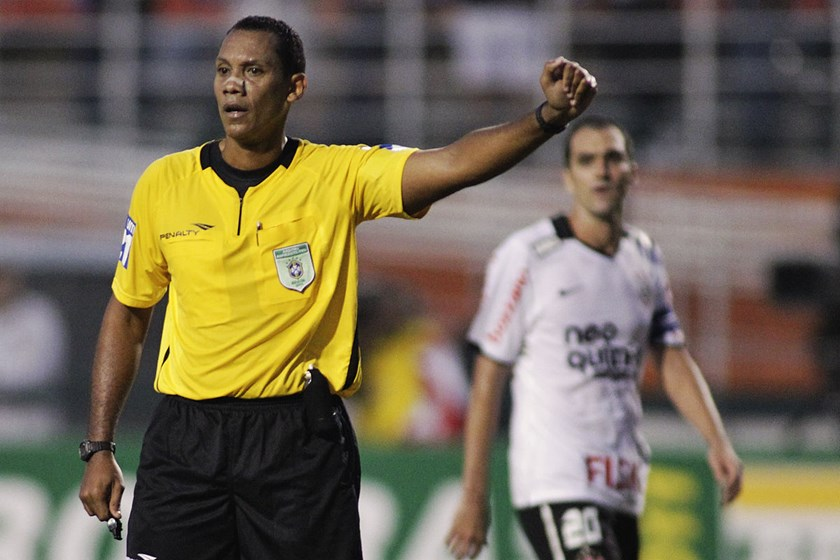 Referee Marcio Chagas during a match between Corinthians and Fluminense during the Brazilian Championship Serie A at Pacaembu Stadium, in Sao Paulo in this June 12, 2011 file photo. Photogrpaher: Keiny Andrade/LatinContent via Getty Images