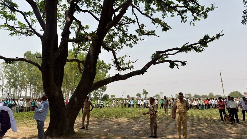 Indian police keep watch at the tree where the bodies of gang rape victims were found hanging, ahead of Congress party Vice President Rahul Gandhi's arrival in Katra Shahadatgunj in Badaun district, India's Uttar Pradesh state, on May 31, 2014. Photo cred