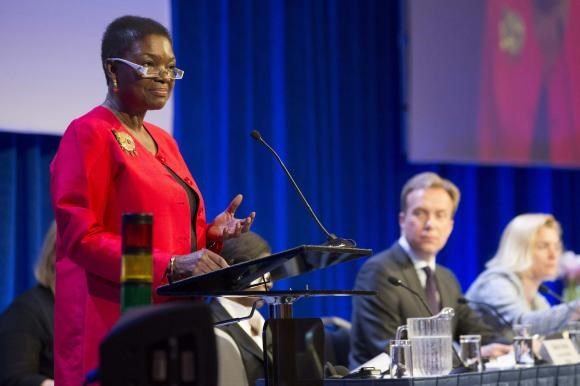 U.N. humanitarian chief Valerie Amos addresses a donor conference for South Sudan, in Oslo May 20, 2014.