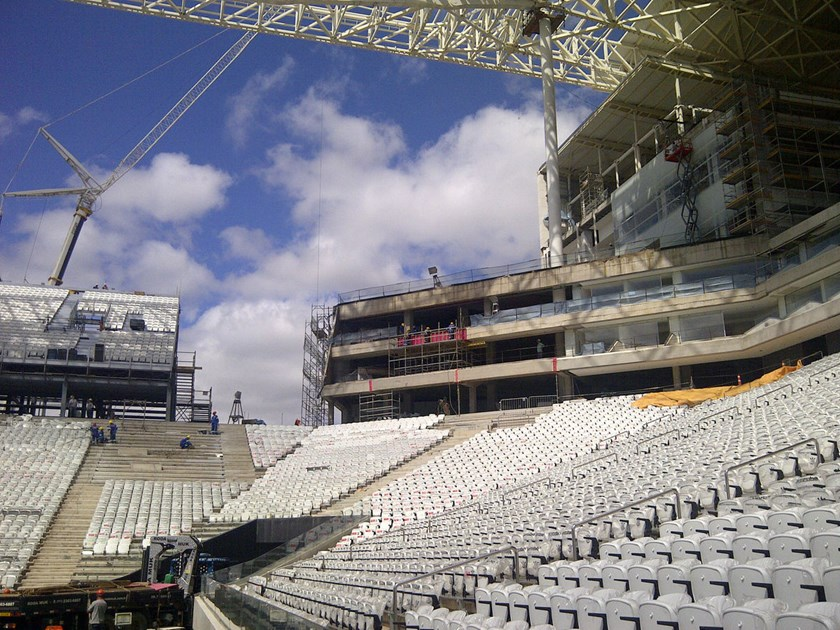 The Corinthians Arena under construction in Sao Paolo on March 25, 2014.